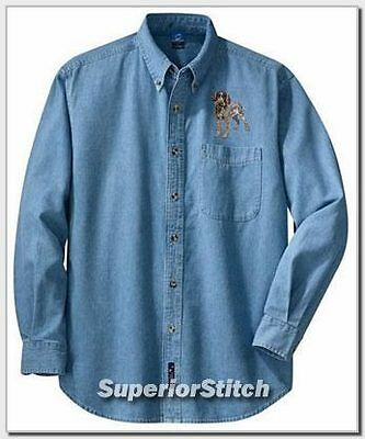 GERMAN WIREHAIRED POINTER embroiderd denim shirt XS-XL