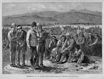 Muster Day On The Indian Reservation Native American 1880 Harper's Weekly