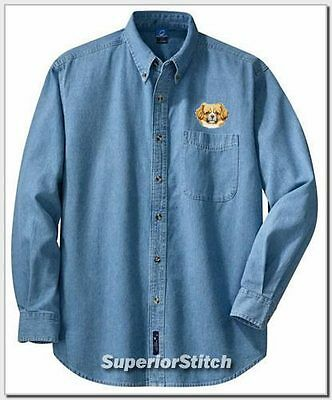 TIBETAN SPANIEL embroidered denim shirt XS-XL
