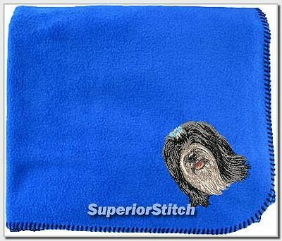 TIBETAN TERRIER embroidered blanket ANY COLOR