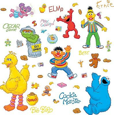 SESAME STREET 45 BiG Wall Stickers ELMO BIG BIRD ABBY OSCAR Room Decor Decals