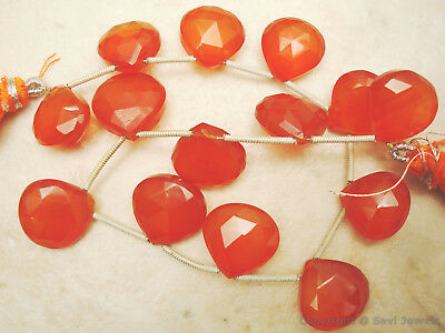 FACETED Heart CARNELIAN CHALCEDONY13mm (Set of 14)115Ct
