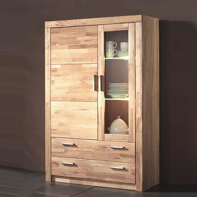 vitrine simone wohnzimmer schrank kernbuche teilmassiv 160cm hoch eur 379 95 picclick de. Black Bedroom Furniture Sets. Home Design Ideas