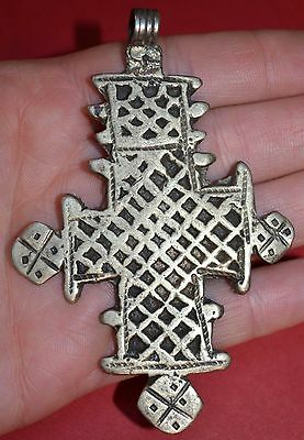 Antique Ethiopian Coptic Christian Cross Silver Pendant From Ethiopia, Africa