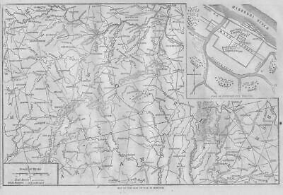 Civil War Map 1861 Seat Of War Missouri Jefferson City Missouri River Arkansas