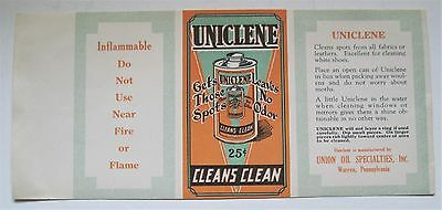 Old UNICLENE Cleaning Can Label Warren PA