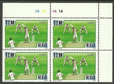 NEVIS 1986 CRICKET 1v Single SCARCE PLATE BLOCK 4 MNH