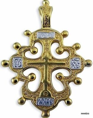 Russian Orthodox Crucifix Cross Gold Sterling Silver NR