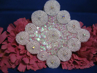 CRYSTAL IRIS DESIGNER MOTIF SEQUIN BEADED APPLIQUE PAIR 2691-H