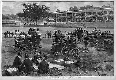 Horse Racing At Jerome Park, Coaches On Track Infield