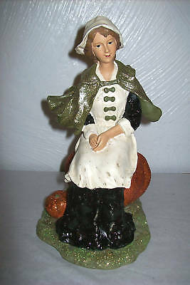 """Pilgrim Girl on Pumpkin"" Thanksgiving Figure"