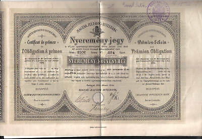 Obligation / LOAN BOND : HONGRIE HUNGARY 1884 OBLIGATION à PRIMES