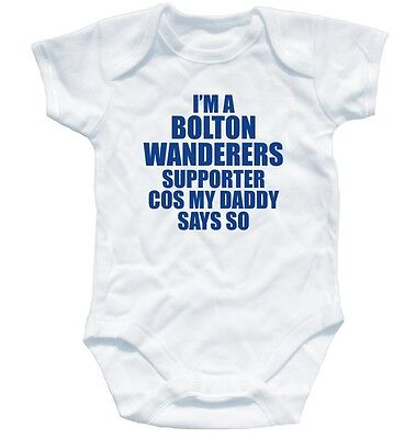 BOLTON WANDERERS SUPPORTER football baby suit 0-3 month