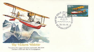 Vickers Vedette Sea Airplane - 1979 Canada Fdc Cover