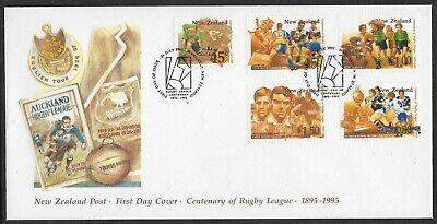 NEW ZEALAND 1995 RUGBY CENTENARY Set 5v OFFICIAL FDC