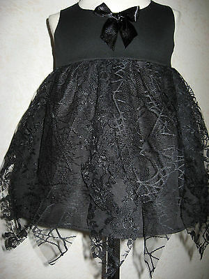 New cool Gothic Witch  Baby Girls Black Web Lace petal Top Dress Rock Gift Party