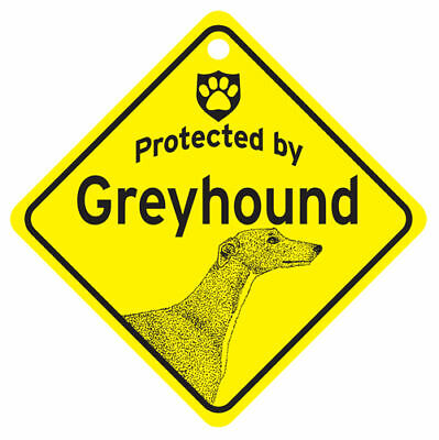 Protected by GREYHOUND Grey Hound Dog Window SIGN