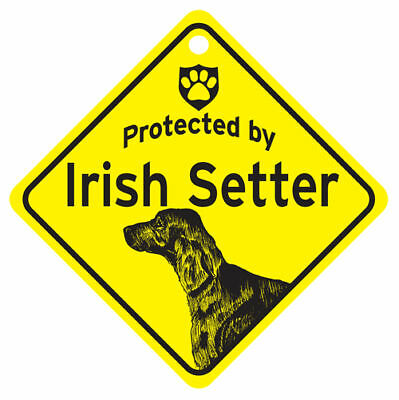 Protected by IRISH SETTER Dog Yellow Car Window SIGN