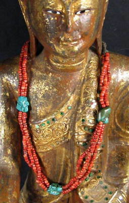 TIBETAN FINE QUALITY LONG TURQUOISE & CORAL BEAD  NECKLACE 22 inches.
