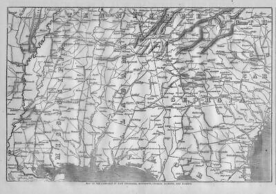 Civil War 1864 Campaign Map Florida Georgia Alabama Mississippi Civil War