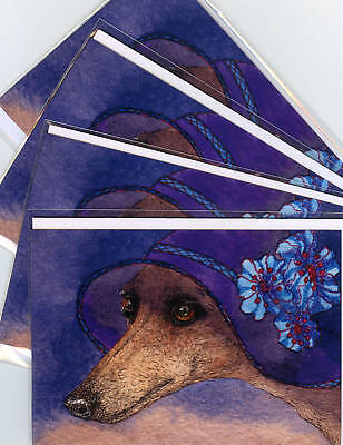 4 whippet greyhound hat mystery dog art greeting cards