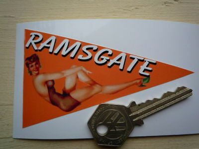 RAMSGATE Classic Car Holiday Window STICKER Camper 60s Retro Vintage Pin-Up