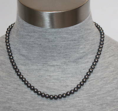 """Sterling Silver Womens 6mm Glass Base Gray Pearl 18"""" Necklace"""