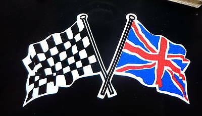 Crossed Union Jack & Chequered Flag Car Bike Stickers 75mm Pair Race Racing Brit