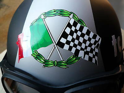 Crossed ITALIAN Flag & Chequered with GARLAND sticker