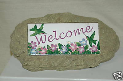 "New! Garden Stone with Inset Reading ""Welcome"""