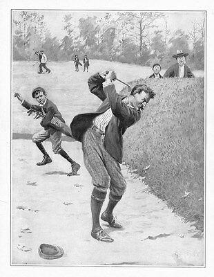 Golf Caddy Runs From Golfer With Bad Temper And Club In Sand Trap By A. B. Frost