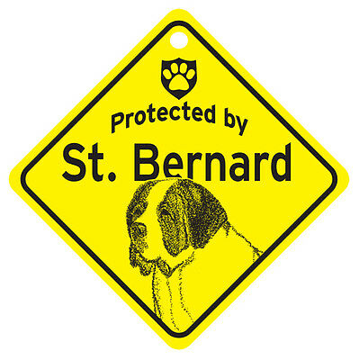 Protected by Saint St. Bernard Dog Window Sign Made in USA