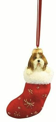 Tan Shih Tzu Stocking Dog Holiday Ornament Christmas == 50% STFBR