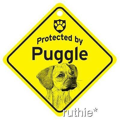 Protected by Puggle Dog Window Sign Made in USA