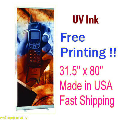 """Retractable Roll Up Banner 31.5"""" x 80"""" Stand Display Free Printing  Trade Show"""