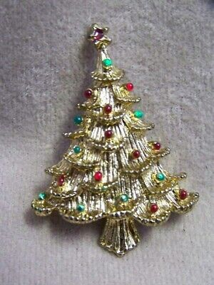 COLLECTIBLE CHRISTMAS TREE PIN-GOLDTONE W/  RHINESTONES