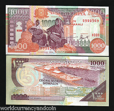 Somalia 1000 1,000 Shillings P37 1996 Ship Port Unc Africa Currency Money Note
