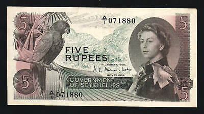 Seychelles 5 Rupees P14 1968 Queen Parrot A/1 Au Africa Currency Money Bill Note