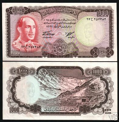 Afghanistan 1000 Afghani P46 1967 King Zahir Shah Unc Rare Large Note