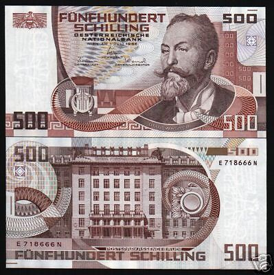 Austria 500 Schillings P151 1985 Euro Unc Post Office Bank Rare Currency Money
