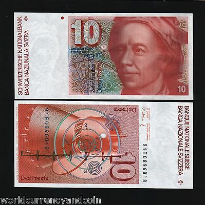 Switzerland 10 Francs P53 1991 Solar System Turbine Unc Currency Money Bill Note