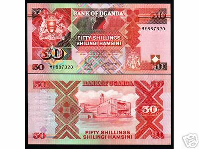 Uganda 50 Shillings P30 1996 Map Animal Unc Currency Money Bill Wild Bank Note