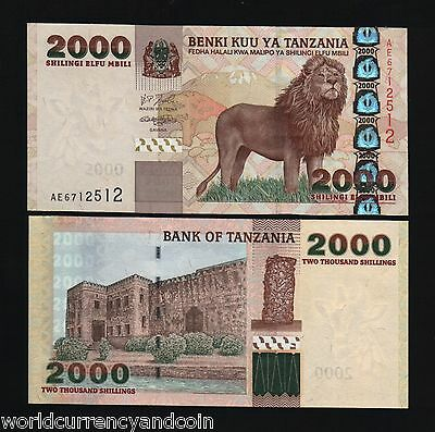 Tanzania 2000 Shillings P37 2003 Lion Mt.kilimanjaro Unc Currency Africa Animal