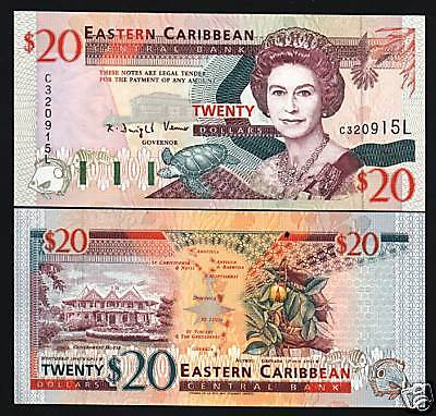 EAST CARIBBEAN STATES ST.LUCIA $20 P33L QUEEN TURTLE SHIP UNC GB UK BANK NOTE