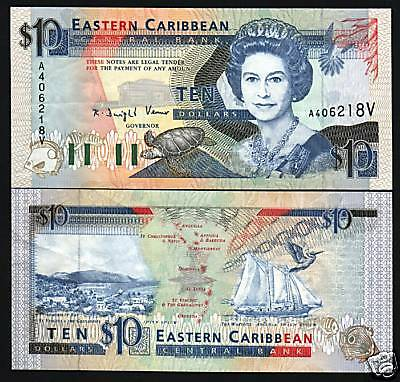 EAST CARIBBEAN STATES ST.VINCENT $10 P27V 1993 QUEEN UNC SHIP TURTLE GB UK NOTE