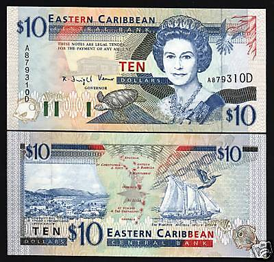 EAST CARIBBEAN STATES DOMINICA $10 P32D 1994 QUEEN SHIP TURTLE UNC GB UK NOTE