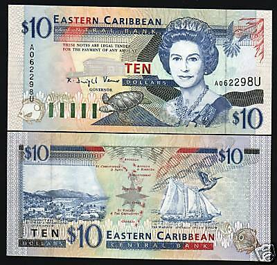 EAST CARIBBEAN STATES ST.LUCIA $10 P32U 1994 QUEEN SHIP TURTLE UNC GB UK NOTE