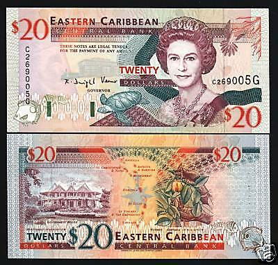 EAST CARIBBEAN STATES GRENADA $20 P33G QUEEN TURTLE SHIP UNC GB UK NOTE