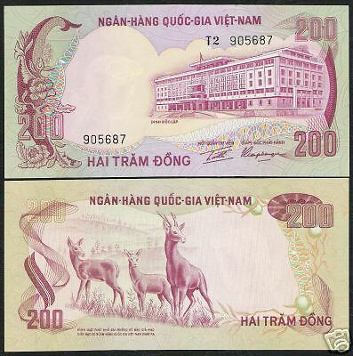Vietnam South 200 Dong P32 1972 3 Deer Aunc Animal Wild Currency Money Banknote
