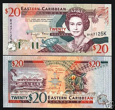 EAST CARIBBEAN STATES ST.KITTS $20 P33K QUEEN TURTLE SHIP UNC NOTE